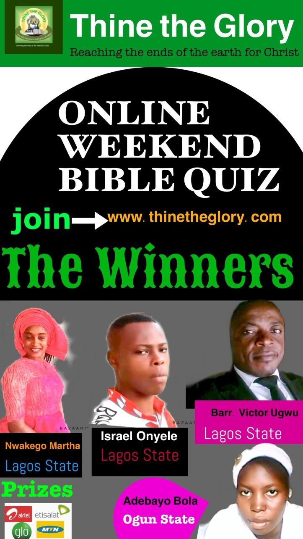Thine the Glory Quiz winners